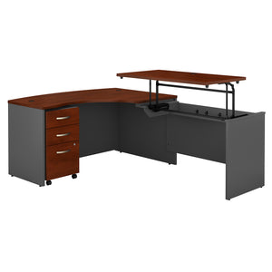 Bush Business Furniture Series C 60W x 43D Right Hand 3 Position Sit to Stand L Shaped Desk with Mobile File Cabinet | Hansen Cherry/Graphite Gray