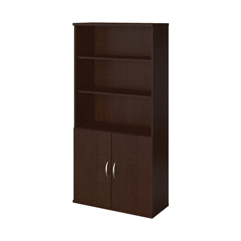 Bush Business Furniture Series C Elite 36W 5 Shelf Bookcase with Doors | Mocha Cherry