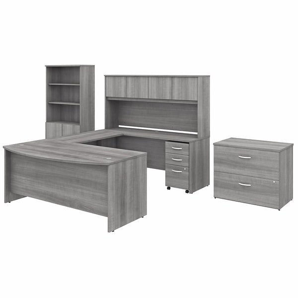 Bush Business Furniture Studio C 72W x 36D U Shaped Desk with Hutch, Bookcase and File Cabinets | Platinum Gray