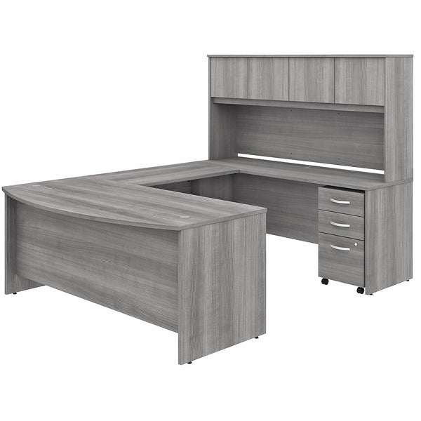 Bush Business Furniture Studio C 72W x 36D U Shaped Desk with Hutch and Mobile File Cabinet | Platinum Gray