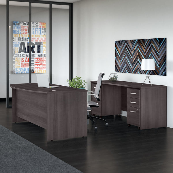 Bush Business Furniture Studio C 72W x 36D Bow Front Desk and Credenza with Mobile File Cabinets | Storm Gray