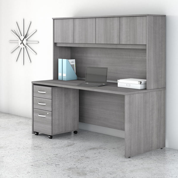 Bush Business Furniture Studio C 72W x 30D Office Desk with Hutch and Mobile File Cabinet | Platinum Gray