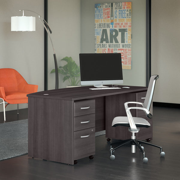 Bush Business Furniture Studio C 72W x 36D Bow Front Desk with Mobile File Cabinets | Storm Gray