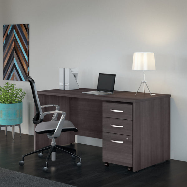 Bush Business Furniture Studio C 60W x 30D Office Desk with Mobile File Cabinet | Storm Gray