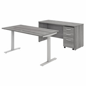 Bush Business Furniture Studio C 60W x 30D Height Adjustable Standing Desk, Credenza and Mobile File Cabinet | Platinum Gray