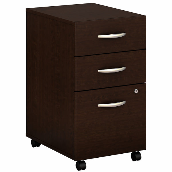 Bush Business Furniture Series C 3 Drawer Mobile File Cabinet - Assembled | Mocha Cherry