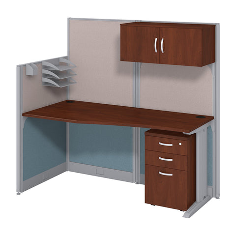Bush Business Furniture Office in an Hour 65W x 33D Cubicle Workstation with Storage | Hansen Cherry
