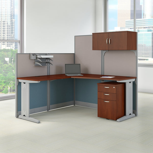 Bush Business Furniture Office in an Hour 65W x 65D L Shaped Cubicle Workstation with Storage | Hansen Cherry