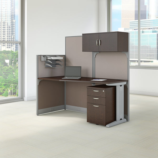 Bush Business Furniture Office in an Hour 65W x 33D Cubicle Workstation with Storage | Mocha Cherry