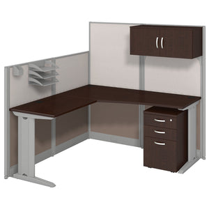 Bush Business Furniture Office in an Hour 65W x 65D L Shaped Cubicle Workstation with Storage | Mocha Cherry