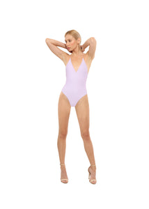 Halter Deep Plunge One-Piece Swimsuit