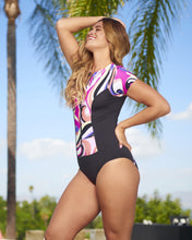 Load image into Gallery viewer, Short Sleeve Zip Front Rash Guard Fun and Flirty