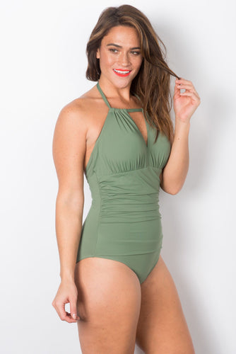 Spring - Hi-Neck Shirred Halter Back One Piece Swimsuit