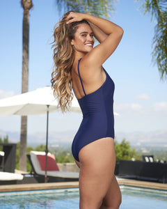 Hi Neck One-Piece with Sheer Inset Adjustable Straps