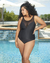 Load image into Gallery viewer, Hi Neck One-Piece with Sheer Inset Adjustable Straps