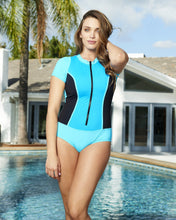 Load image into Gallery viewer, Short Sleeve Zip Front Rash Guard 2 Tone Blue with Mesh Insets Set Sail