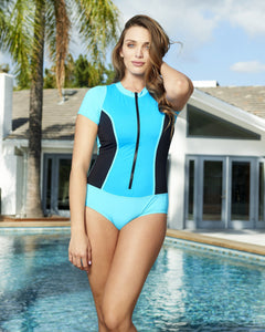Short Sleeve Zip Front Rash Guard 2 Tone Blue with Mesh Insets Set Sail