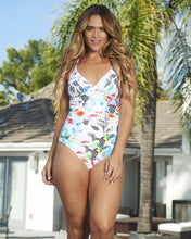 Load image into Gallery viewer, Chevron Back One-Piece Adjustable Straps Ultra Modern