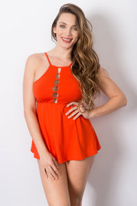 Spring - Cut Out Hi Neck Tankini with Matching Brief Swimsuit