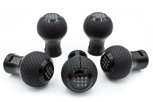 GT2-CF shift knob Black Brushed - Black leather (perforated)