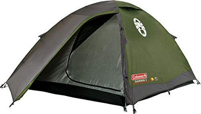 Coleman Polyester Darwin 3 Dome Tent 3 Man Camping Tent with Fibreglass Poles, 3000Mm (3 Person, Green)