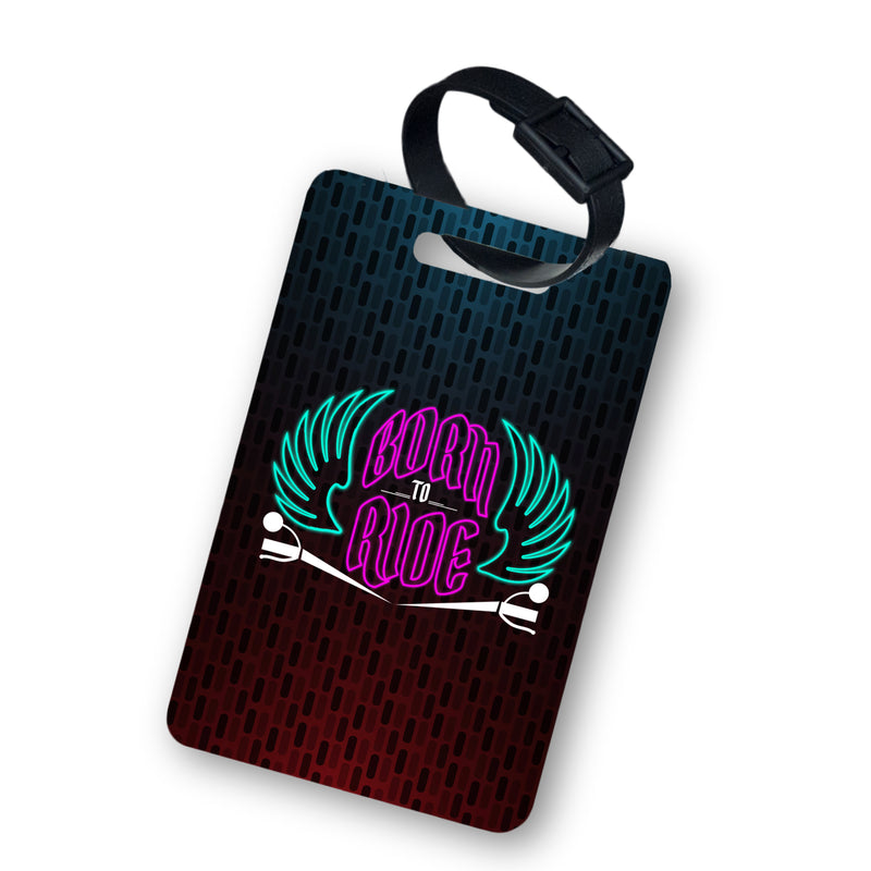 BORN TO RIDE LUGGAGE TAG WITH BELT 2PCS