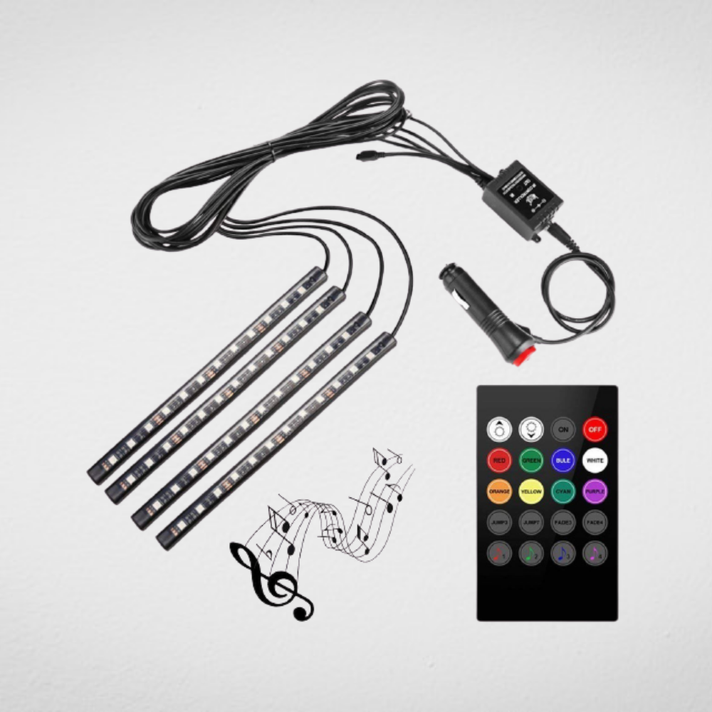 Multicolour Atmosphere Lamp Light For Car Interior  Lighting Kit with Wireless Remote Control