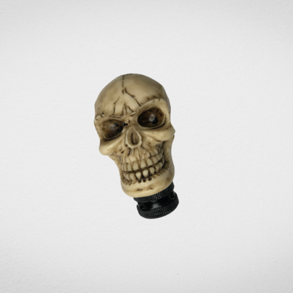 UNIVERSAL CAR GEAR SHIFT KNOB WHITE SKULL