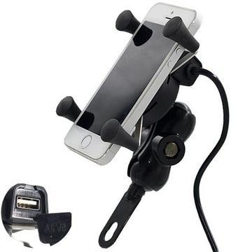 MOTORCYCLE PHONE GPS HOLDER X-STYLE WITH USB CHARGER POWER OUTLET SOCKET