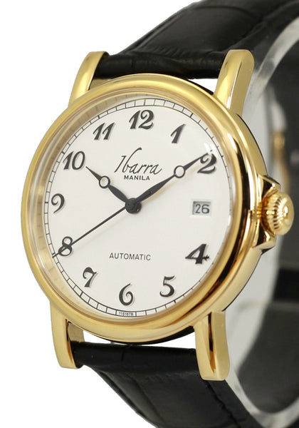 Plaridel (Gold Case, White Face and Black Leather Strap)