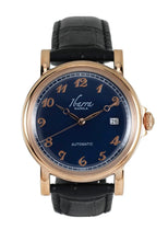 Load image into Gallery viewer, Plaridel (Rose Gold Case, Navy Blue Face and Black Leather Strap)