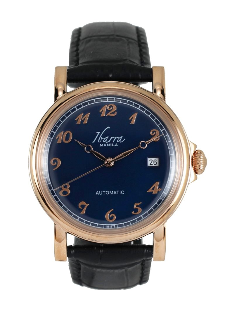 Plaridel (Rose Gold Case, Navy Blue Face and Black Leather Strap)