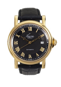Mariano (Gold Case, Black Face and Black Leather Strap)