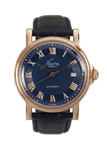 Load image into Gallery viewer, Mariano (Rose Gold Case, Navy Face and Black Leather Strap)
