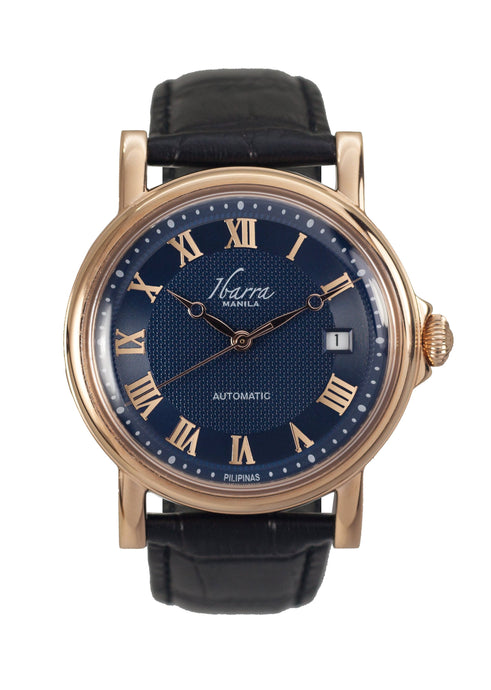 Mariano (Rose Gold Case, Navy Face and Black Leather Strap)