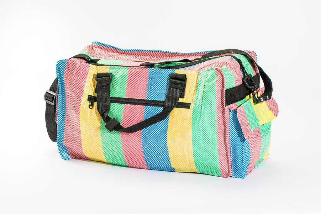 Upcycled Small Duffle Bag (Camel, Fish, Cobra, Stripes)- Fostering Global Sustainable Communities