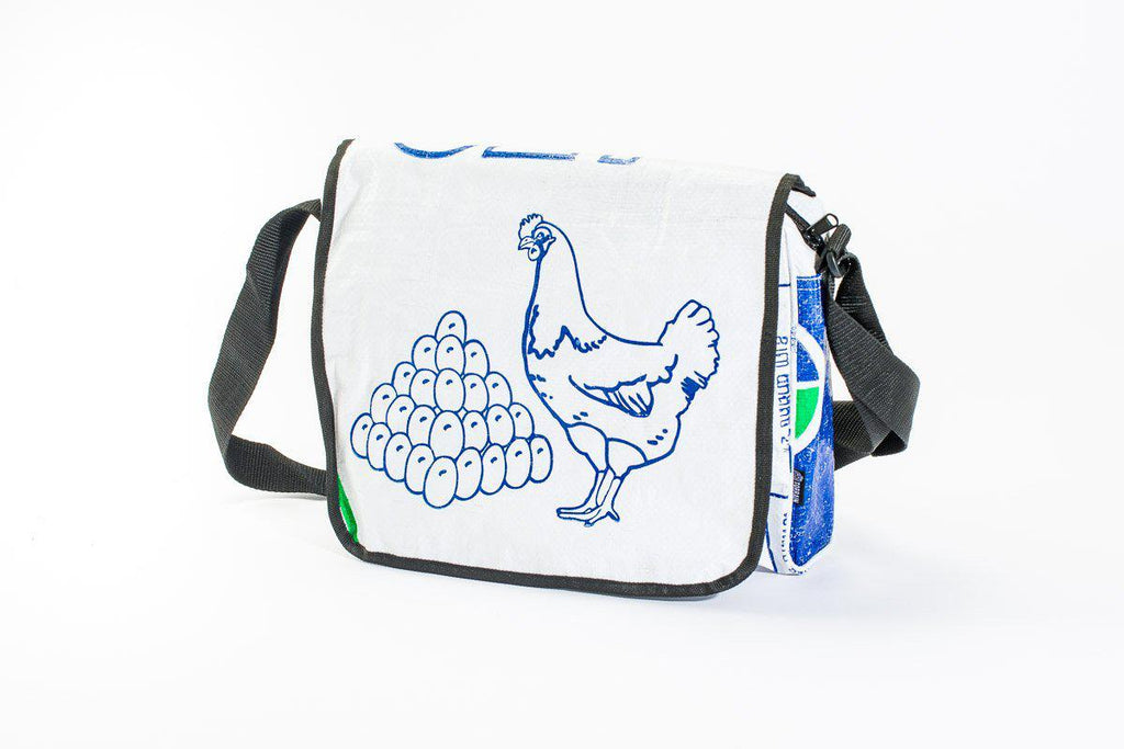 Repurposed Messenger Bag-(Fish, Elephant, Mountain) Fosters Local and Global Sustainable Communities