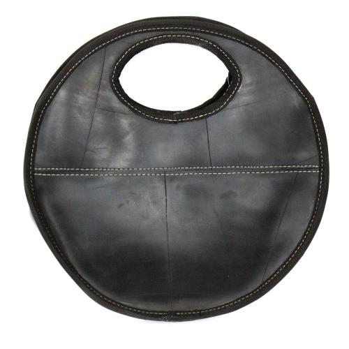 Recycled Rubber Tire Round Handbag purse, Fair Trade & Saves Landfills