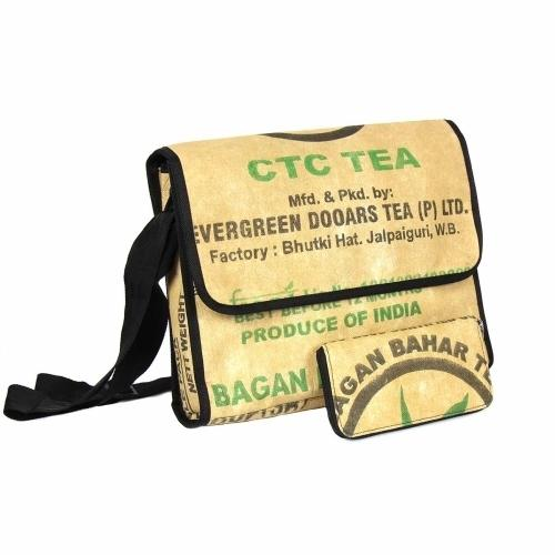 Upcycled Tea Sack Messenger Bag, Saves Landfill Spaces!