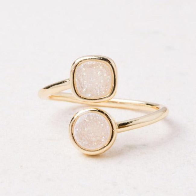 White Druzy Agate & Gold Wrap Ring - Give Freedom To Girls & Women!