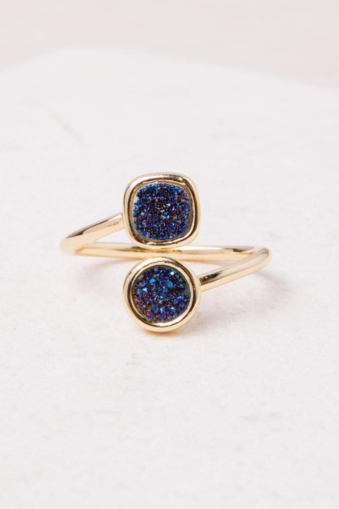 Blue Agate Druzy & Gold Wrap Ring- Give Freedom To Girls & Women!