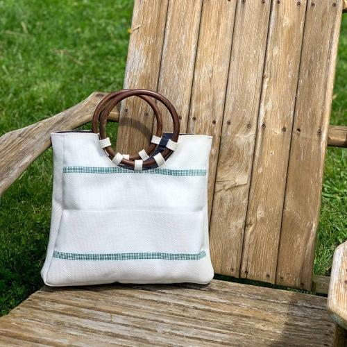 Upcycled Firehose Wood Handled White Tote Bag, Saves Landfill Spaces!