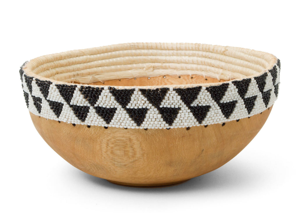Fair Trade & Handmade Black & White Beaded Wooden Jacaranda Bowl