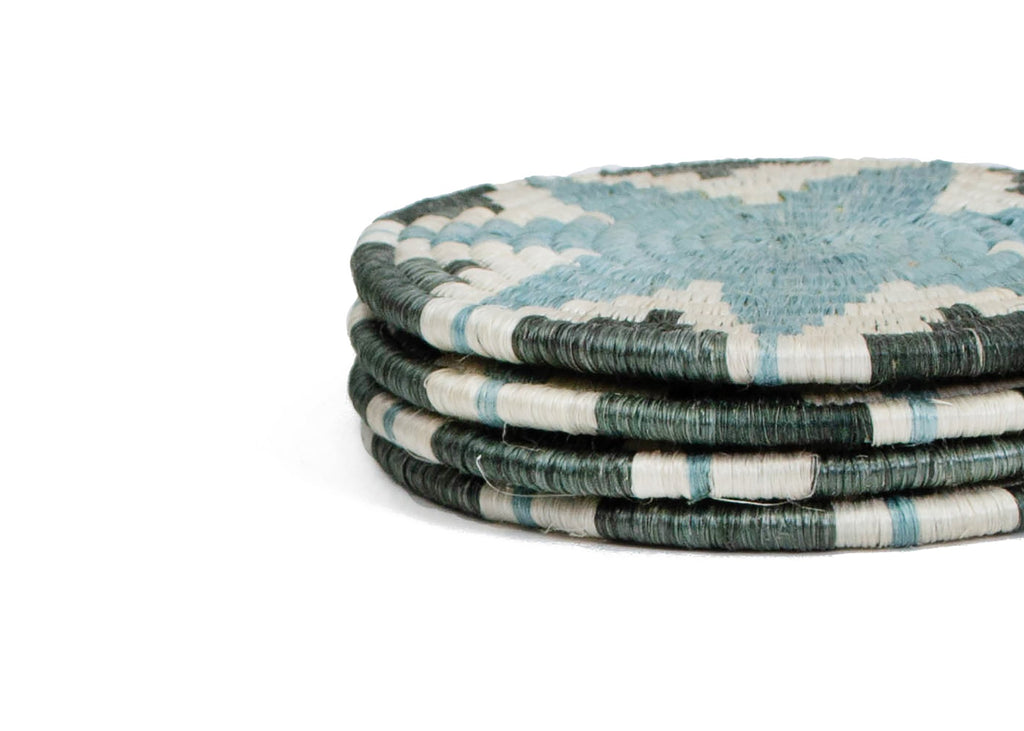 Silver & Blue Hope Drink Coasters, Set of 4, Fair Trade, Rwanda