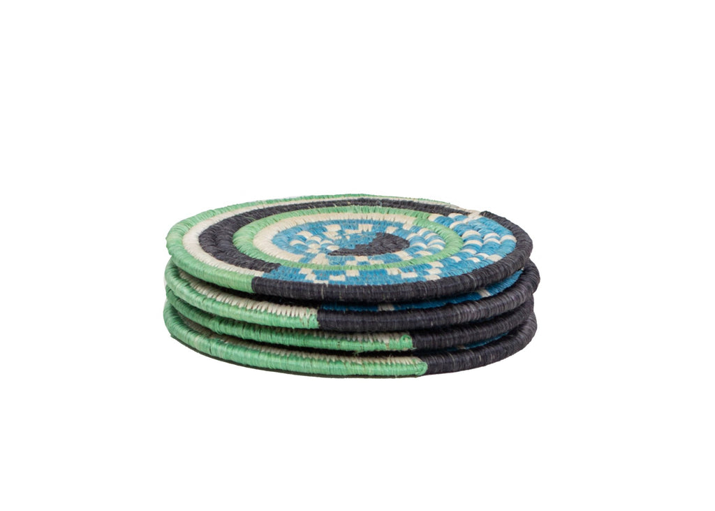 Hand Woven Blue Mara Drink Coasters, Fair Trade, Made in Rwanda