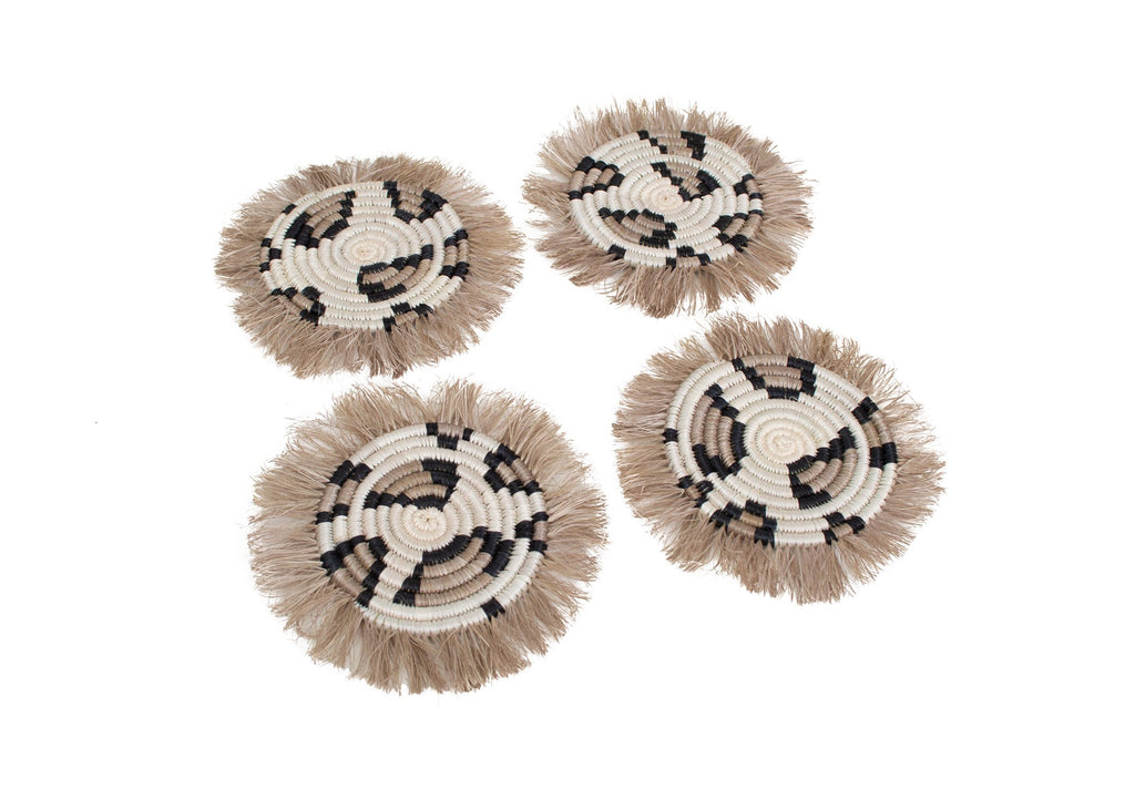Hand Woven Animal Print Fringed Drink Coasters, Fair Trade from Rwanda