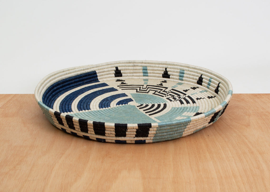 Handmade Silver & Blue Decorative Tray Basket, Fair Trade, Rwanda