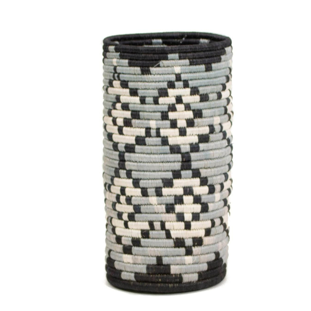 Black & Gray Hand Woven Basket Vase with Glass Insert- Fair Trade, Rwanda