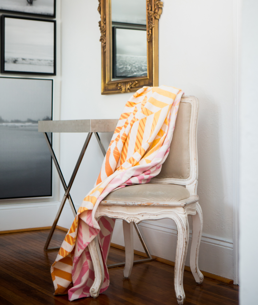 Pink, Orange & Yellow Striped Organic Cotton Throw Blanket - Supports Domestic Violence Victims in the USA!