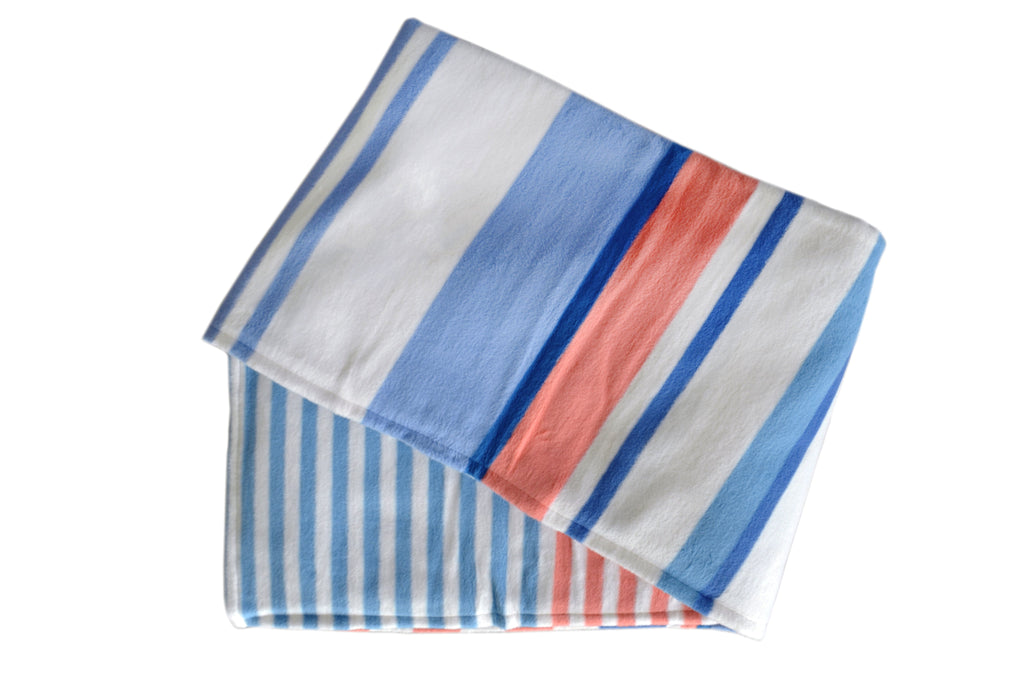 Orange, Teal & White Striped Organic Cotton Throw Blanket- Supports USA Domestic Violence Victims